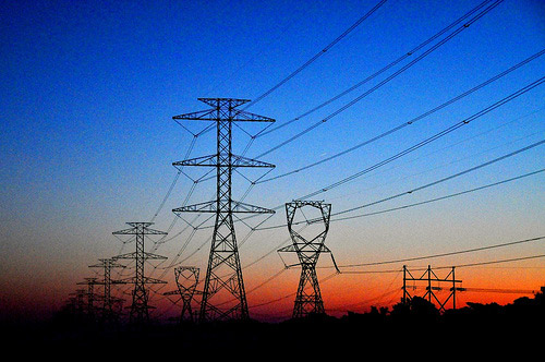 Electrical Transmission Lines at sunset