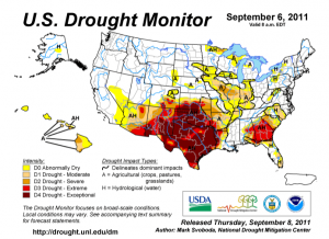 Much of Texas and Oklahoma are extremely or exceptionally dry.