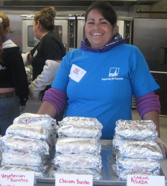 Mothers of students worked long hours to prepare a burrito lunch.