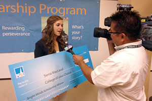 Sierra MacLeod told a local TV station how the Bright Minds Scholarship will enable her to attend UCLA this fall.